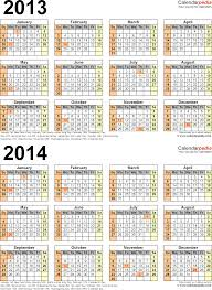 2013 2014 calendar free printable two year excel calendars