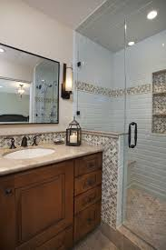 Tufted Leather Bench With Shower Niche Bathroom Traditional And - Bathroom design san francisco