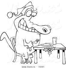 vector cartoon christmas gator anticipating dinner coloring