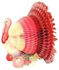 tissue paper honeycomb centerpiece thanksgiving turkey