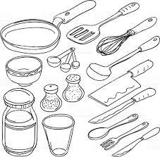 Kitchen Utensils Kitchen Utensils In Sketch Style Stock Vector Art 165811007 Istock