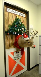 office 30 decorative door ideas christmas office reindeer stable