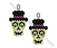 spooky halloween character skull earring bead pattern by threadabead