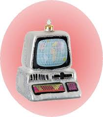 colorful made blown glass computer ornament on sale