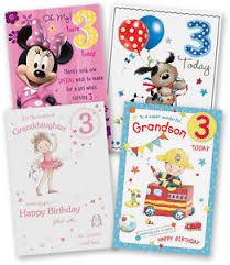 age 3 3rd third happy birthday card granddaughter grandson son