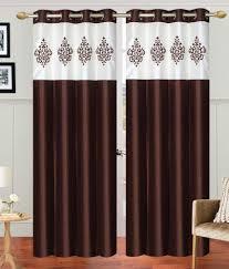offer on abhi home decor black silk eyelet door and window curtain