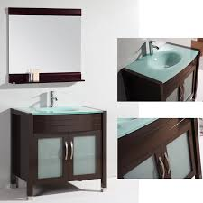 glass top 36 inch single sink bathroom vanity with matching mirror