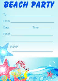 beach party invitations free printable kids party invites from
