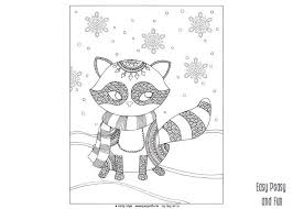 easy peasy coloring page raccoon winter coloring page for adults and kids raccoons easy