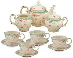amazon tea priority gracie china vintage green rose porcelain 11 piece tea