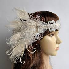 gatsby headband ivory peacock the great gatsby headband 1920s flapper