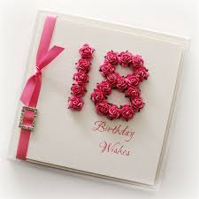 18th birthday card keepsake card gift boxed paper roses pink