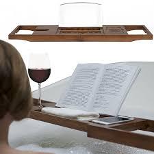 Bathtub Book Tray Bathroom Bath Tub Caddy With Wine Candle U0026 Book Holder Amazon Co