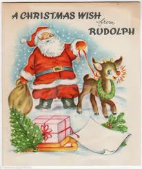 santa claus rudolph the nosed reindeer vintage graphic