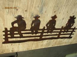 cowgirl home decor cowboys on fence wall art western rustic cabin home decor horse