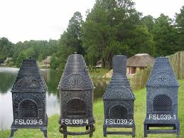 Big Green Egg Chiminea For Sale Furniture Orange Clay Chiminea Outdoor Fireplace With Black Iron