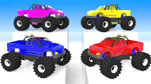 learn colors monster trucks monster trucks color water