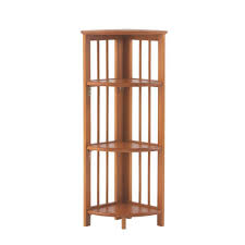 Walnut Corner Bookcase Casual Home Walnut Folding Corner Open Bookcase 2769600850 The