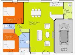 plan maison plain pied 2 chambres garage frais plan de maison plain pied 2 chambres et garage idées de