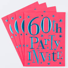 Invitation Cards Size 60th Birthday Party Invitation Cards Pack Of 10 Only 1 49