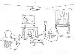 Room Sketch Fireplace Living Room Interior Graphic Black White Sketch
