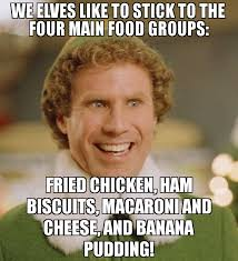 Biscuits Meme - we elves like to stick to the four main food groups fried chicken