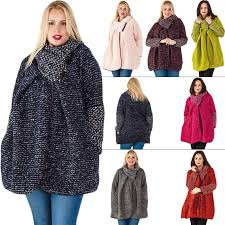 Plus Size Lagenlook Clothing New Womens Italian Lagenlook Cape Winter Knitted Jacket Coat Plus