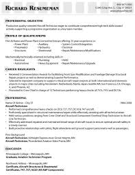Plumbing Resume Examples by Example Of An Aircraft Technician U0027s Resume