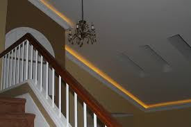 Crown Moulding On Vaulted Ceiling by Lighted Crown On A Vaulted Ceiling Contemporary Staircase