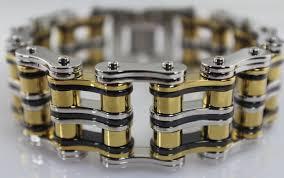 black stainless steel chain bracelet images New 1quot wide gents chain bracelet 10quot tricolor gold black jpg
