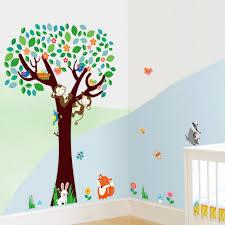 stickers animaux chambre b mignon singes renard oiseaux jungle animaux jouant sur les arbres