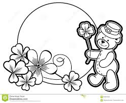outline round frame with shamrock contour and teddy bear raster