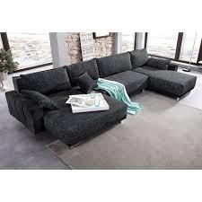 canapé avec méridienne canapé panoramique xl convertible en microfibre et tissu avec