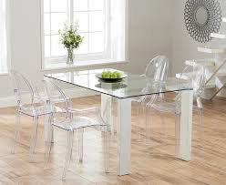 lavina 150cm glass and white high gloss dining table with philippe