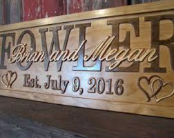 Personalized Wedding Plaque Personalized Wedding Gift Family Name Sign Custom Carved