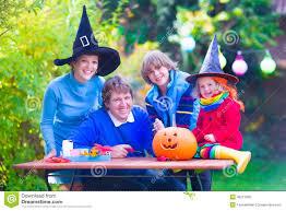 family on halloween stock photo image 46213930