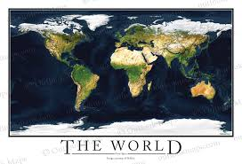 World Map Wall Poster by Satellite Map Poster Of World High Detailed Image