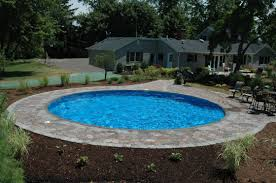pavers around semi inground pool google search deck pool