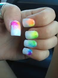 white and neon rainbow fade nails summer fun bright colors