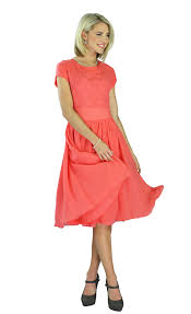 modest dresses in coral
