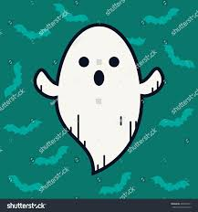 ghost doodle character cartoon cute symbol stock vector 499200511