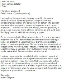 fancy sample cover letter for executive secretary position 52 for