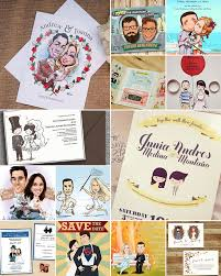 caricature wedding invitations and cards