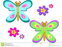 mix of colorful butterflies and flowers royalty free stock