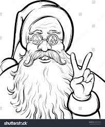 christmas hippie coloring page santa claus stock vector 202076158