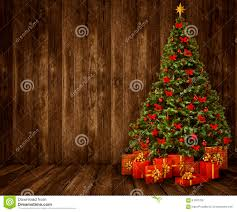 Wooden Interior by Christmas Tree Room Background Wood Wall Floor Wooden Interior