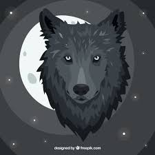 abstract background with wolf and moon vector free