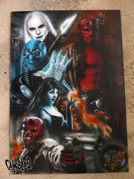 themed paintings hellboy themed painting catkustomz paintings prints
