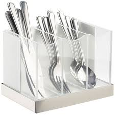flatware caddies holders organizers cal mil luxe white metal three compartment flatware organizer with stainless steel