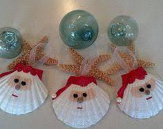 set of two seashell santa ornaments by vicscrafts